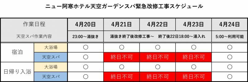 4/21~23 天空ガーデンスパ工事のお知らせ