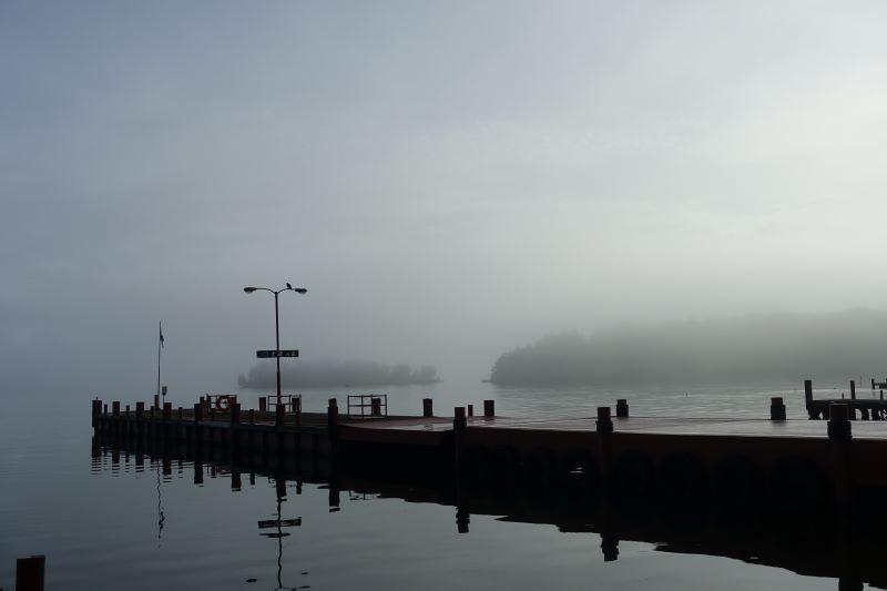 9月 朝靄の幸運の森桟橋