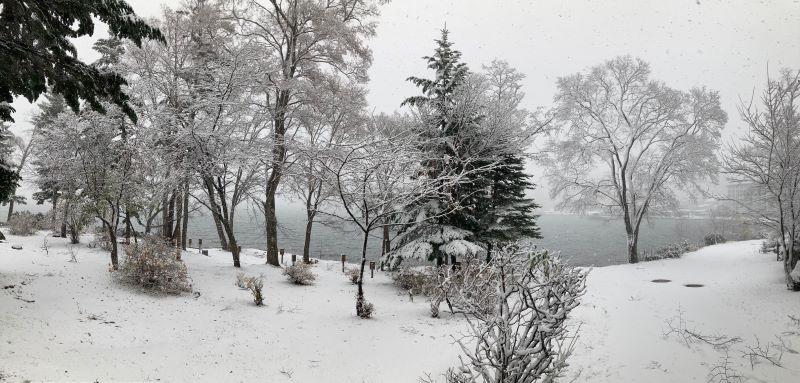 初雪の阿寒湖