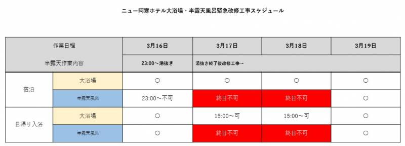 3/17~18大浴場内半露天風呂緊急改修工事のお知らせ