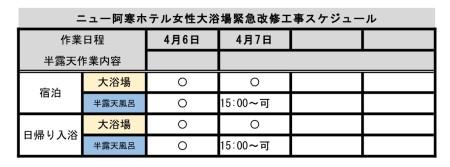 4/7女性大浴場内半露天風呂緊急改修工事のお知らせ