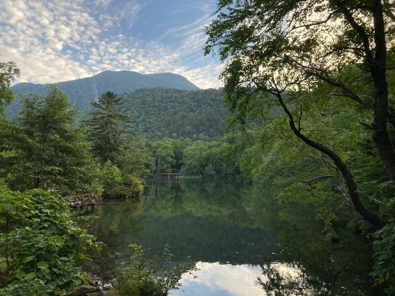 早朝の阿寒湖滝口